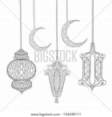 Ramadan Kareem greeting design coloring page. Engraved vector illustration. Sketch for decoration, poster, print, t-shirt.