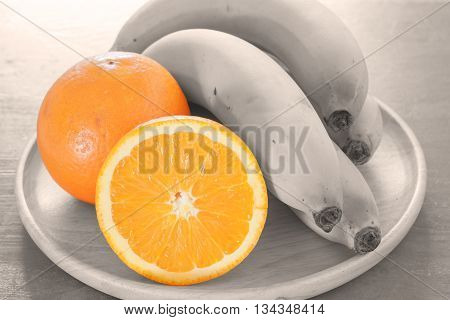 Oranges with sepia filter healthy fruits background, stock photo