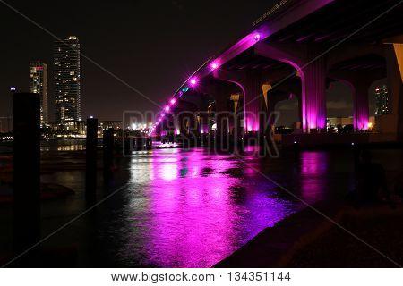 Downtown of Miami night skyline. 360 panorama.