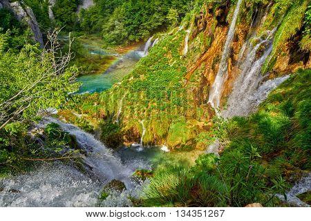 Plitvice Lakes National Croatia Park Waterfalls with Rainbow