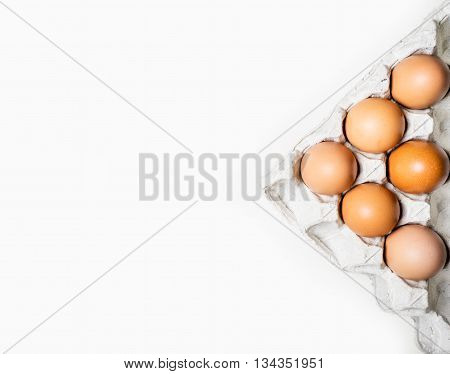 Top View Of Brown Chicken Eggs