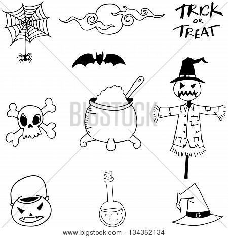 Scry Element Halloween in doodle vector illustration