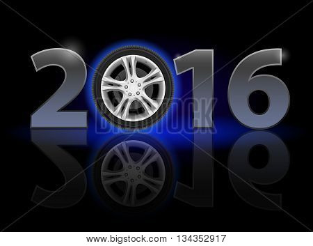 New Year 2016: metal numerals with car wheel instead of zero having weak reflection