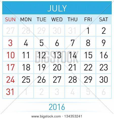 July Twenty-Sixteen. Calendar Month. Illustration on white background
