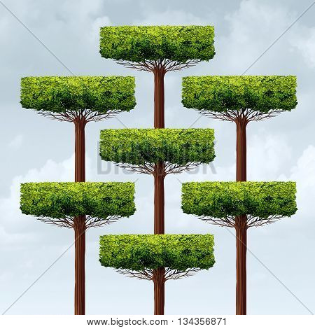 Organization structure growth as a group og organized growing trees in a business structure as a financial corporate metaphor for networking assembly in a 3D illustration style.