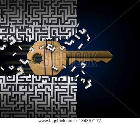 Key to success or jailbreak and jailbreaking concept and crack the code symbol as a keyhole object breaking through a maze puzzle or labyrinth as a finding a path and accessibility business idea as a 3D illustration.