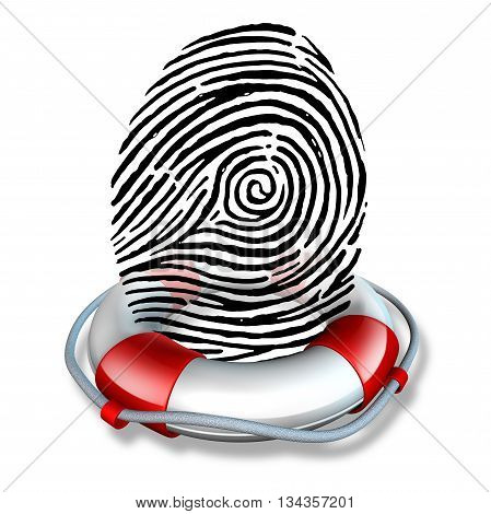 Identity safety and Identification security or ID fraud protection as a lifesaver lifebelt protecting a fingerprint or finger print icon as a symbol to rescue personal data and consumer information guard as a 3D illustration. poster