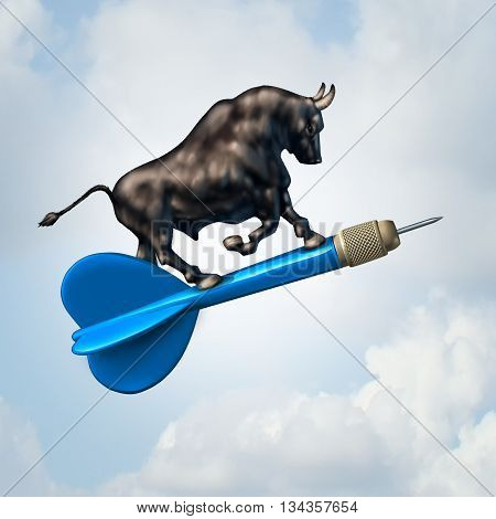 Bull market target financial concept and profiable stock goal business symbol as an optimistic bull riding a dart upward towards success as a finance icon with 3D illustration elements.