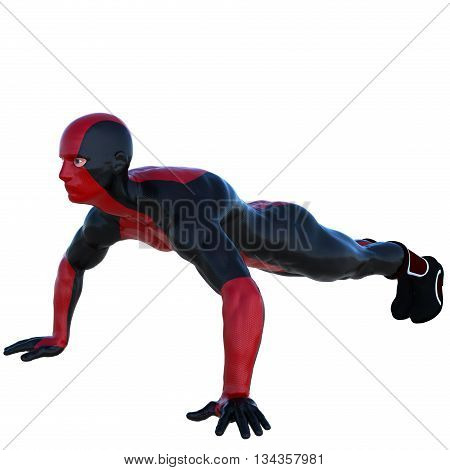 a young man in red black super suit. Pushups. Left side. Latex. 3D rendering, 3D illustration