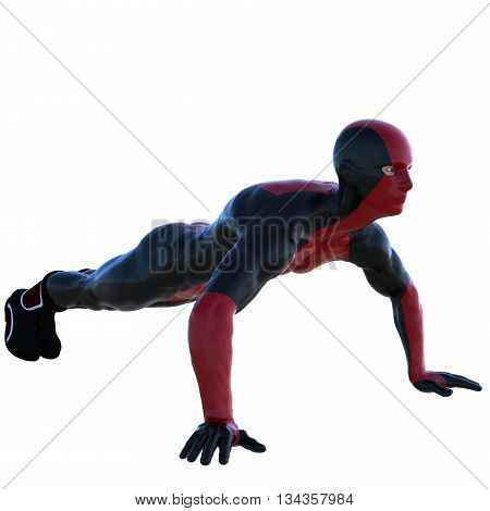 a young man in red black super suit. Pushups. Right side. Latex. 3D rendering, 3D illustration
