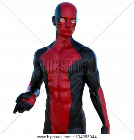 a young man in red black super suit. Stands near to camera. Latex. 3D rendering, 3D illustration