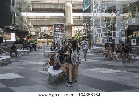 BANGKOK THAILAND - MAY 29 : activity of people in space between Siam Center and Siam Discovery after renovate in siam square on may 29 2016 thailand. siam square is one of landmark for tourist in bangkok