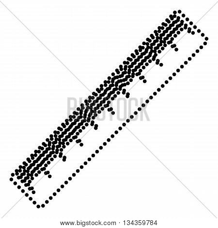 Centimeter ruler sign. Dot style or bullet style icon on white.