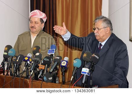 SULAIMANIYA,IRAQ-JANUARY 5:President of Democrate Party Massoud Barzani and Jalal Talabani announced that they will cooperate at elections on January 5,2008 in Sulaimaniya,Iraq.
