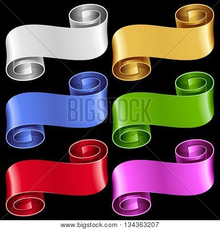 Vector ribbon frames set. White, blue, red, golden, green and purple banners isolated on black background