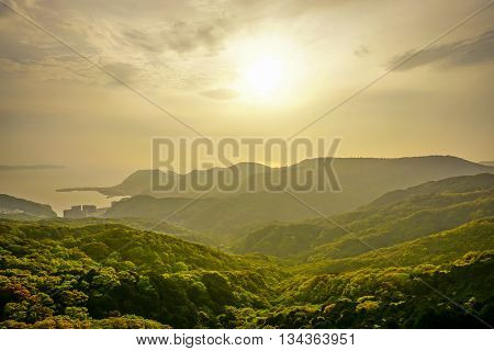 View of the sunset from Inasayama Mountain in Nagasaki, Japan.