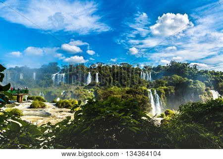 Iguazu Falls, the largest series of waterfalls of the world, located at the Brazilian and Argentinian border. View from Brazilian side.