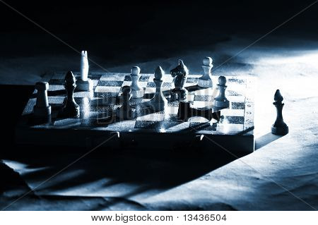 Chess on a board