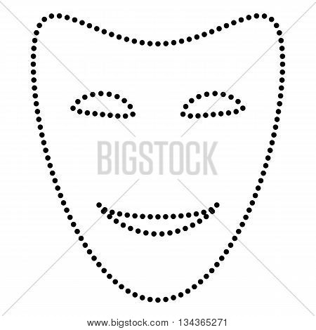 Comedy theatrical masks. Dot style or bullet style icon on white.