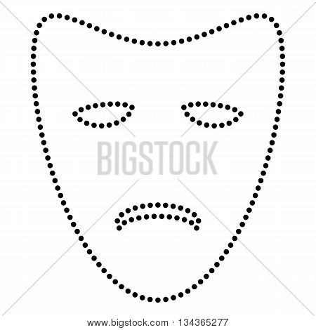 Tragedy theatrical masks. Dot style or bullet style icon on white.