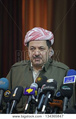 SULAIMANIYA,IRAQ-JANUARY 5:President of Democrate Party Massoud Barzani announced that they will cooperate with Kurdistan Patriots Union at elections on January 5,2008 in Sulaimaniya,Iraq.