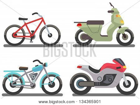 Bike and motorbike vector illustration. Set of ride transport bike and motorbike
