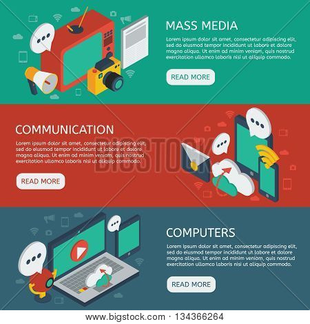 Media isometric horizontal banners set with mass communication cloud service and online discussions computers isolated vector illustration