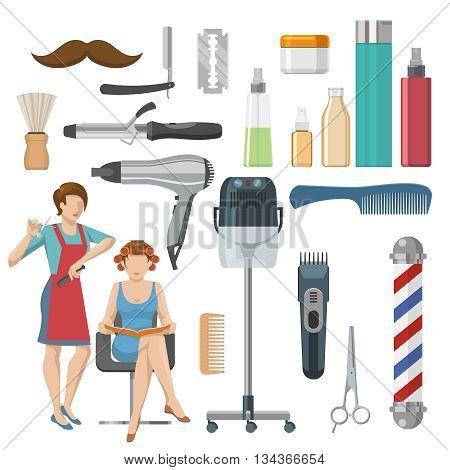 Beauty salon decorative icons set with cosmetics master shaving brush comb scissors clipper razor isolated vector illustration
