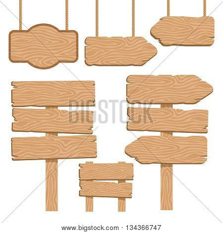 Wood guidepost decorative icons set with hanging and terrestrial signboards of sand color isolated vector illustration