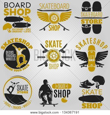 Colored skateboarding emblem set in different shapes with descriptions board shop skateboard shop skateshop vector illustration
