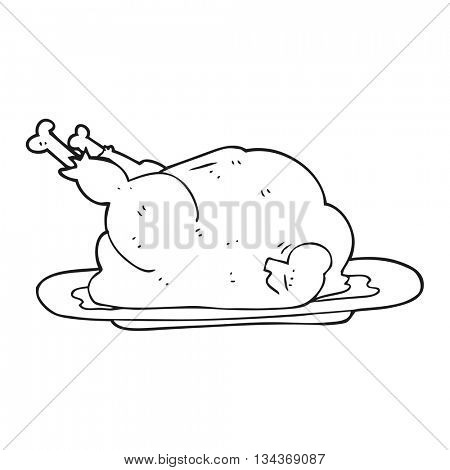 freehand drawn black and white cartoon cooked chicken