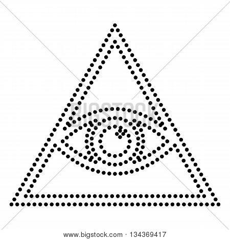 All seeing eye pyramid symbol. Freemason and spiritual. Dot style or bullet style icon on white.