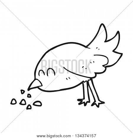 freehand drawn black and white cartoon bird pecking seeds