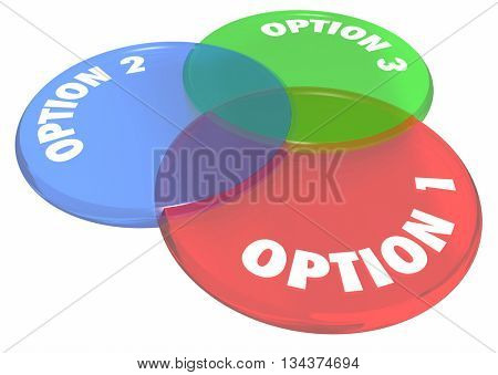 Option 1 2 3 Choices Decide Venn Diagram 3d Illustration.jpg