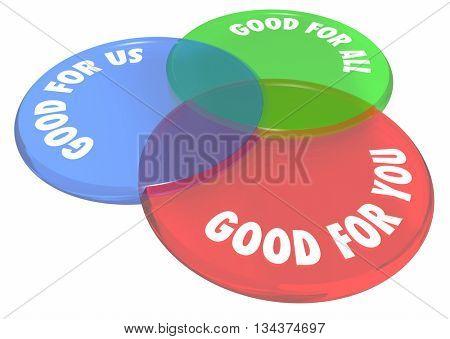 Good For You Us All Venn Diagram Circles 3d Illustration