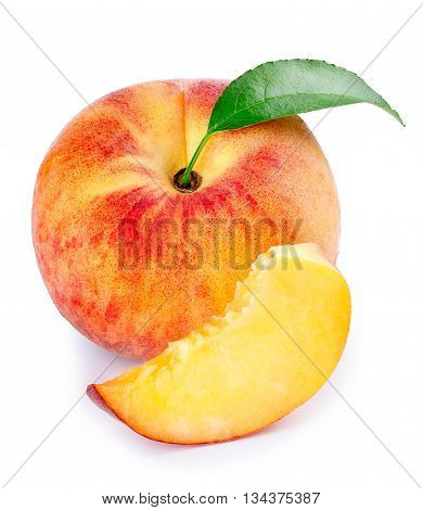 Peach whole fruit with leaf and slice isolated on white background. Isolated peach. Fruit with slice isolated on white background