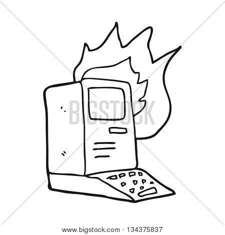 freehand drawn black and white cartoon old computer on fire