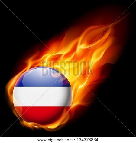 Flag of Yugoslavia as round glossy icon burning in flame