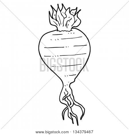 freehand drawn black and white cartoon turnip