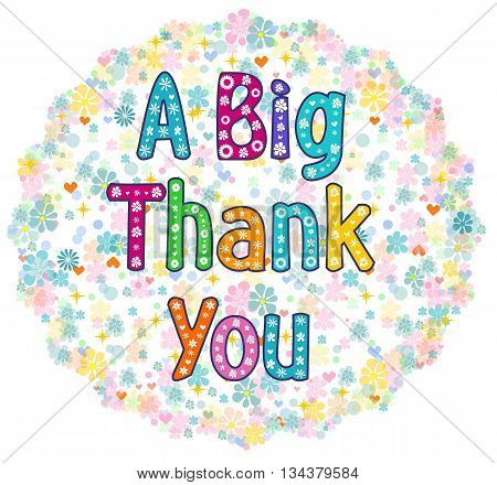 a big thank you greeting card. Stock vector illustration