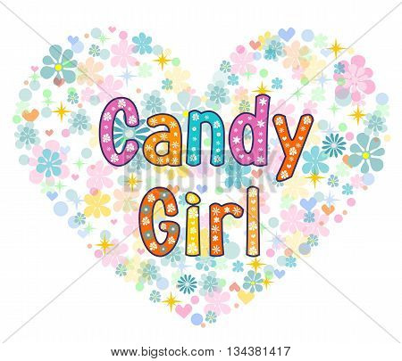 candy girl greeting card. Stock vector illustration