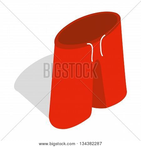 Red shorts for swimming icon in isometric 3d style on a white background