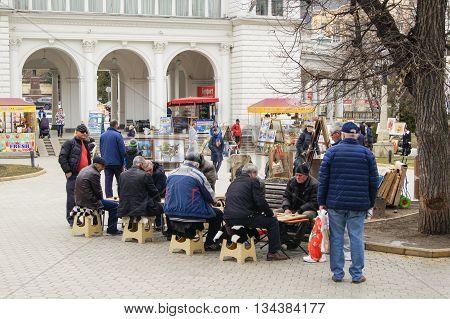 Kislovodsk, Russia - 28 February, People playing backgammon, 28 February, 2016. Resort zone Mineral Waters, Krasnodar region.