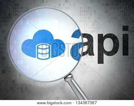 Software concept: magnifying optical glass with Database With Cloud icon and Api word on digital background, 3D rendering
