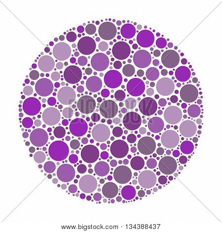 Circle made of dots in shades of violet. Abstract vector illustration inspired by medical Ishirara test for color-blindness.