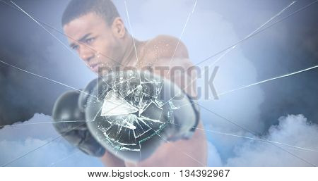 Boxer performing upright stance against cloudy sky