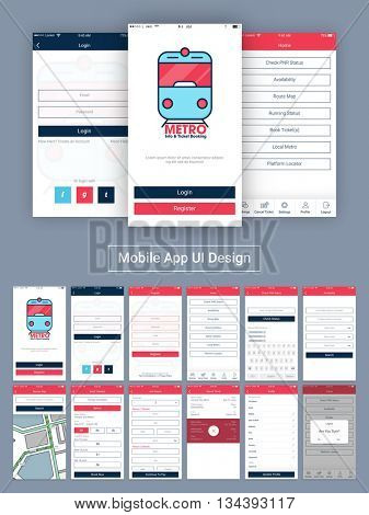 Online Tickets Booking Mobile Apps Material Design, UI, UX and GUI  with Login, Home, Register, Check PNR Status, Availability, Route Map, Book Tickets, Add Details, Cancel Ticket, Profile, Log Out.