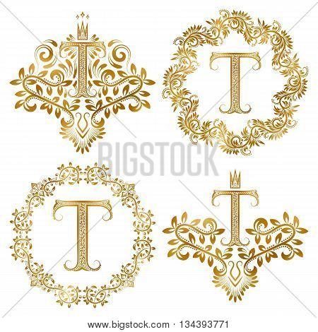 Golden T letter vintage monograms set. Heraldic coats of arms and round frames.