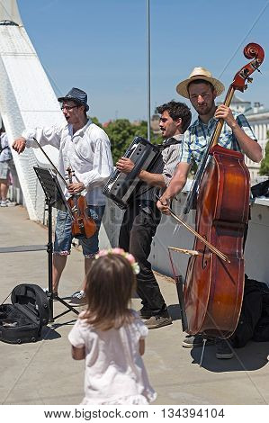SZEGED HUNGARY - MAY 22 2016: Street singers during the days of city Szeged Hungary. Event organized by the City Hall of Szeged.