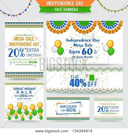 Indian Independence Day Sale Banners, Mega Sale with Flat Discount Offer. Creative vector illustration with tricolor balloons and other element.